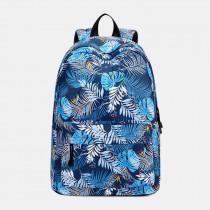 Multifunctional Leaf Waterproof Print Casual Backpack School Bag