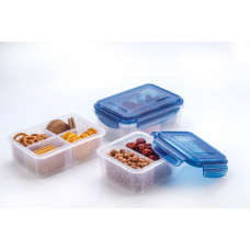 Elianware Ezy-Lock 100% Airtight Microwavable Food Containers (2 Compartments) - Blue