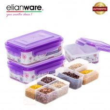 Elianware Ezy-Lock 100% Airtight Microwavable Food Containers (4 Compartments) - Purple