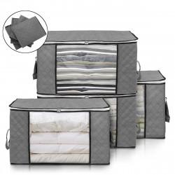 4 Pcs Foldable Clothes Storage Bag Blanket Quilt Closet Organizer Holder