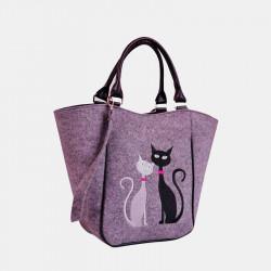 Women Large Capacity Cat Pattern Crossbody Bag Handbag Tote Bag