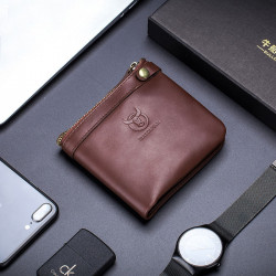 Bullcaptain Men Genuine Leather RFID Blocking 8 Card Holder Zipper Wallet