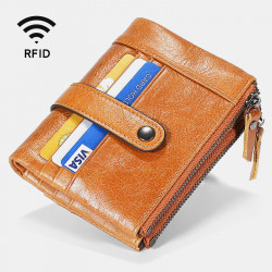 Men Genuine Leather RFID Antimagnetic Double Zipper Wallet 15 Card Slots Holder