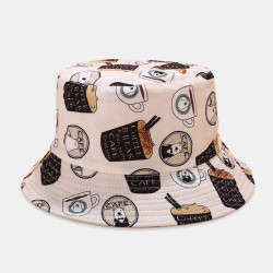 Unisex Printed Coconut Double-sided Usable Bucket Hat Outdoor Sunscreen Visor Fisherman Hat