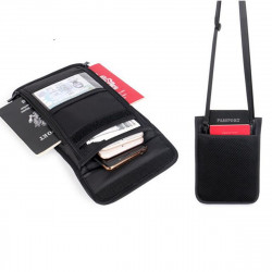 RFID Blocking Passport Holder Neck Stash Pouch Security Travel Wallet Shoulder Bag