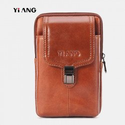 Men Genuine Leather Vintage Waist Bag Belt Bag Phone Bag