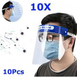 ZANLURE 10Pcs Transparent Adjustable Full Face Shield Plastic Anti-fog Anti-spit Protective Mask