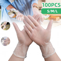 100Pcs Disposable PVC Gloves Powder Free Textured For Foodstuff Chemical Domestic Industry Work Gloves Fishing Gloves