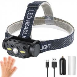 BORUIT 10W 800LM L2+2xCOB Headlamp Power Display 10 Modes USB Charging Sensing Cycling Night Warning Light