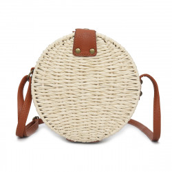 Women Summer Round Straw Shoulder Bag Vintage Woven Beach Tote Crossbody Handbag