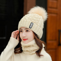 Thick Wool Beanie Hat Earmuff Hair Knitted Hat Scarf Caps Two-piece