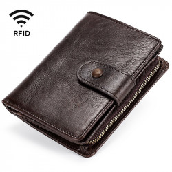 Men Vintage Genuine Leather RFID Blocking Wallet Zipper Coin Bag