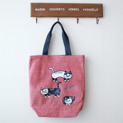 Women Casual Cat Pattern Handbag Tote Bag For Shopping