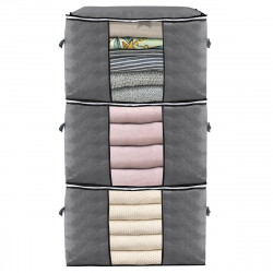 3 Pcs Clothes Storage Bag Zip Organizer Boxes Pillows Quilt Bedding Bag Luggage Bag