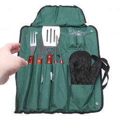 IPRee 8Pcs BBQ Tools Set Stainless Steel Tableware Barbecue Grilling Accessories Kit with Portable Case for Outdoor Camping