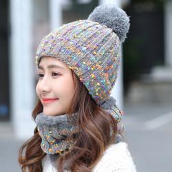 Thick Warm Wool Cap Bib Two-piece Set Beanie Warm Winter Pom Cap