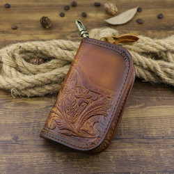 Men Genuine Leather Vintage Printed Car Key Bag Wallet