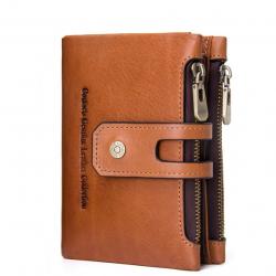 Men Genuine Leather Vintage Double Zipper Purse Wallet Multi-Card Holder