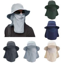 3 In 1 Adjustable Unisex Visor Hats Detachable Face Neck Cover Anti-Fog Saliva Dustproof Protective Fisherman Bucket Hat
