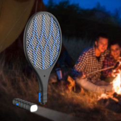 2 In 1 Multifunction 4000V 1200mAh Electric Mosquito Swatter Mosquito Dispeller Mosquito Killer Racket Mini LED Flashlight Camping Travel