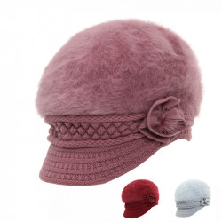 Women's Beret Fur Warm With Knitted Trim Hat Beret Caps