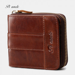 Men Genuine Leather Mini Retro Leather Coin Card Holder Wallet