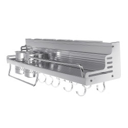 Bright Space Aluminum Kitchen Rack With Guardrail Heightened Double Cup Holder Condiment Storage Rack