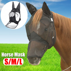 Deluxe Horse Fly Mask with Ears Mesh Anti-mosquito Zipper Style Pony/Cob/Full Horse Spurs