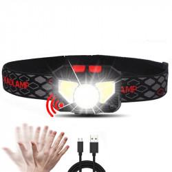 XANES W826A 650LM XPG+2xCOB LED Induction Sensor Headlamp USB Charging 6 Modes Waterproof Double Switch Fishing Light Flashlight