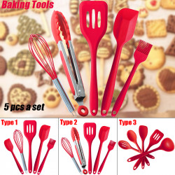 5Pcs/ Set Food-grade Silicone Non-scratch Cooking Slotted Turner Spoon Soup Ladle Spaghetti Server Scrapers Whisk Food Tongs Kitchen Utensils
