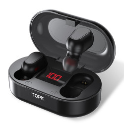 TOPK F23 TWS bluetooth 5.0 Digital Display Earphone Wireless Stereo In-ear Earbuds Headphone with Charging Box