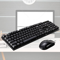 104 Keys 3D Smart  USB Wired Gaming Keyboard and Anti-Skid Roller Mouse Combo for PC Latop