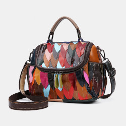 Women Genuine Leather Patchwork Vintage Handbag Crossbody Bag