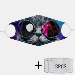 Cat Print Dustproof Mask PM2.5 Filter Gasket Non-disposable Mask with Breathing