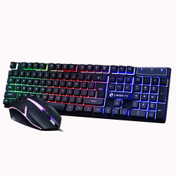 104 Keys USB Wired RGB Backlight Multi-Colored Changing Ergonomic Optical Gaming Keyboard and Mouse Set for PC Gamer Laptop