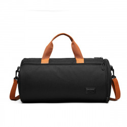 Canvas Wet Dry Separation Shoes Yoga Bag Sports Fitness Cylindrical Gym Bag Travel Luggage Shoulder Bag