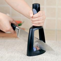 Kitchen Cutter Sharpening Tool 3 Stage Manual Durable Kitchen Grinder Black Handle Cutting Sharpener Tool