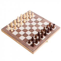 3 In 1 30x30cm Folding Wooden Contemporary International Chess Set Funny Foldable Board Famliy Game With Chessmen