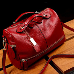 Fashion Women Genuine Leather Tote Handbag Pillow Shoulder Crossbody Satchel Bag