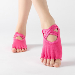 Women's Terry Yoga Socks Five Finger Sock Double Cross With Anti-slip Socks