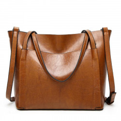 Women Oil Wax Leather Large Handbag Shoulder Girl Travel Bag Messenger Tote