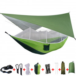 IPRee 2 Person Camping Hammock Tent with Mosquito Net Rainfly Tarp Cover Double Hanging Bed Outdoor Travel