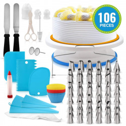 106 PCS Set Multi-color DIY Cake Decorations Turntable Icing nozzles Mould Spatula Bags Tools Kit For Party