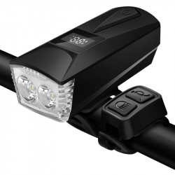 XANES DL23 1100LM 2xT6 LED Burglar Alarm Bike Front Light with 100db Horn Far Near Distance Large Floodlight Smart Power Display USB Charging 4 Modes Waterproof Night Riding Warning Light
