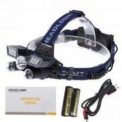 BIKIGHT TD118 2500LM 5LED Rechargeable White Red Blue Light LED Headlamp Headlight Head Torch Flashlight Work Light With 18650 Battery Kit
