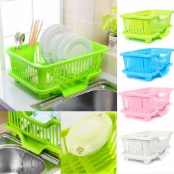 4-Colors Kitchen Storage Rack Dish/Bowl/Cup/Spoon/Fork Drainer Drying Rack Washing Holder Sorting Basket