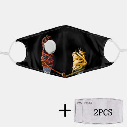 2Pcs PM2.5 Filter Food Mask Pattern Dustproof Mask With Breathing Mask