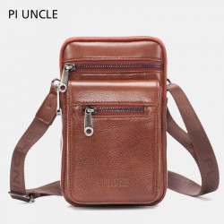 Men Genuine Leather Waist Bag Crossbody Bag Shoulder Bag