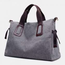 Women Pure Color Large Capacity Casual Canvas Shoulder Bag Handbag