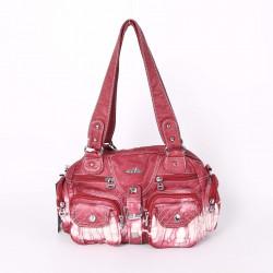 Women Multi-Pockets Gradient Color Shoulder Bag Casual Soft Leather Handbag